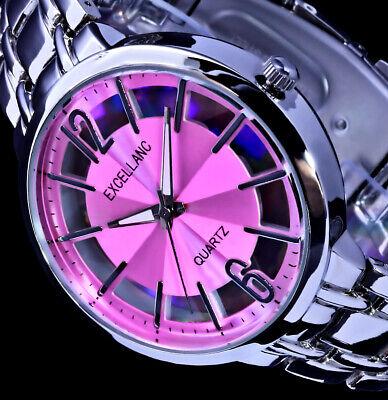 Excellanc Damen Armband Uhr Pink Silber Farben Streifen STR-2
