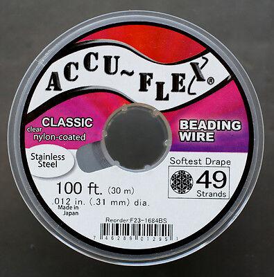 100' Clear Accuflex 49 Strand Beading Wire .012