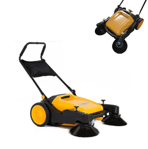 TECHTONGDA Triple Brush Push Power Sweeper Pavement Sweeper Portable Cleaner
