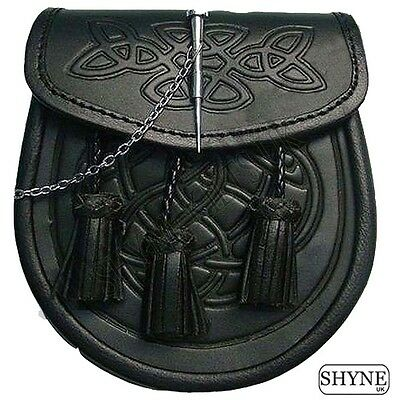 946940d57 CELTIC EMBOSSED BLACK LEATHER LATCH PIN KILT SPORRAN With Belt and Chain