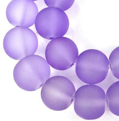 25 Frosted Sea Glass Round Beads 10mm Matte - Lavender