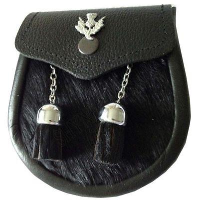 Baby Semi Dress Black Calf Skin Kilt Sporran with a Thistle Emblem & Chain - Baby Kilt