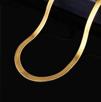 Fashion Men Women 18K Gold Plated Snake Chain Choker Necklace Jewelry 24