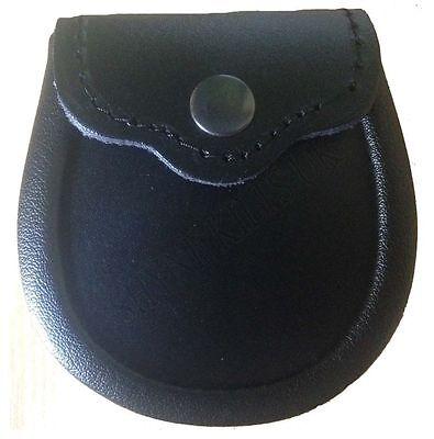Baby Plain Black Leather Sporran Kilt Sporran & Chain - Baby Kilt