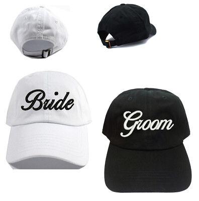 Bride & Groom Black and White 100% Cotton Baseball Caps Hats Bride Groom Gift