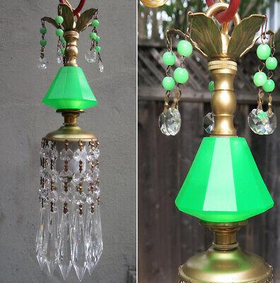 Vintage Lucite Smaragdgrün Swag Lampe Kronleuchter Kristall Prismen Leuchtende ()