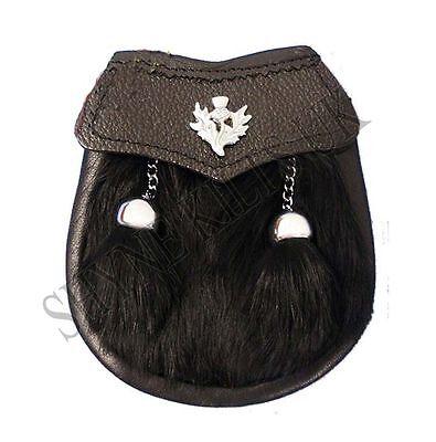 Baby Semi Dress Black Rabbit Fur Kilt Sporran with a Thistle Emblem & Chain - Baby Kilt