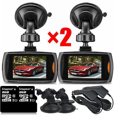 2x1080P Car DVR Dash Vehicle Camera Video Night Vision G-Sensor Recorder+8G Card