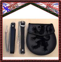 Abbigliamento Intimo Sporran Leone Rampante Nero Coniglio Pelo Silver Borchia -  - ebay.it