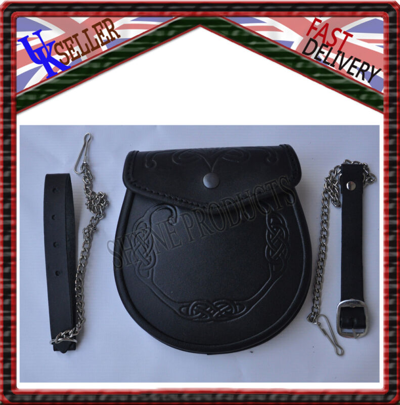 LEATHER EMBOSSED SPORRAN HIGH QUALITY LEATHER FREE CHAINSTRAP
