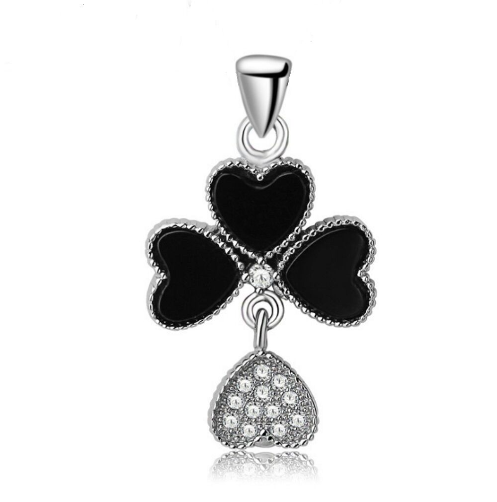 Women 925 Sterling Silver Lucky Clover Pendant+18 Inches Silver Chain Necklace Fashion Jewelry