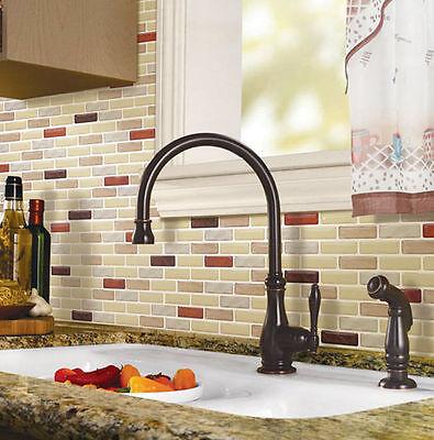 Home Bathroom Kitchen 3D Wall Decor Sticker Backsplash Brown Peel and Stick Tile