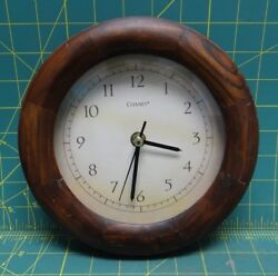 Chaney Analog Wall Clock, Wood Outline, 8 Diameter