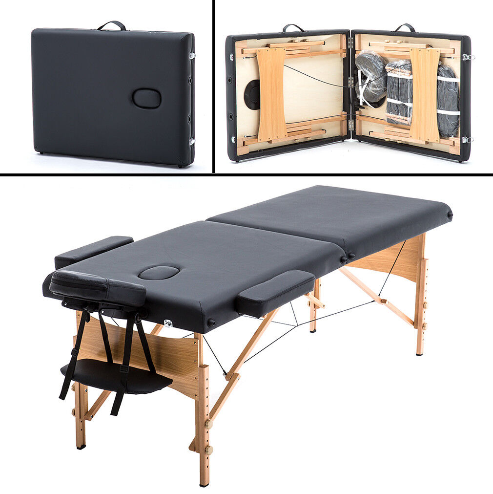 "BestMassage 2"" Pad 84"" Black Massage Table Free Carry Case Bed Spa Facial T1"