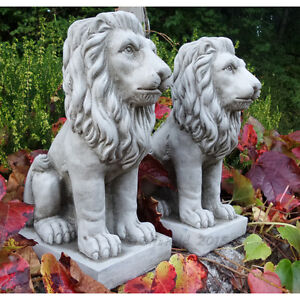 PROUD LIONS PAIR Hand Cast Stone Garden Ornament Statue Pillar Caps ⧫onefold-uk