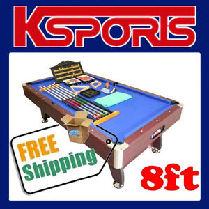 8FT POOL TABLE SNOOKER BILLIARD, BLUE FELT, LAY BY