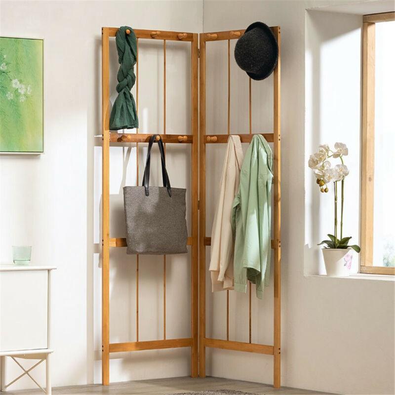 Foldable Wood Clothes Rail Stand Corner Shelves Storage Coat Garment Rack Hooks