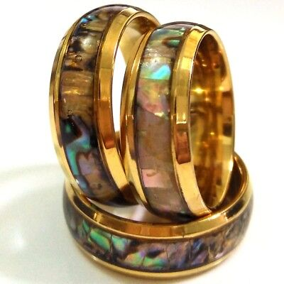 25pcs Gold Colorful Natural shell Inlay Man Woman 316L Stainless Steel Rings for sale  Shipping to Canada
