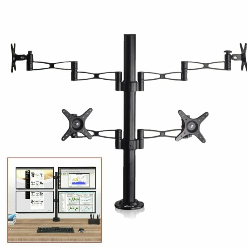 """Adjustable Quad Arm Monitor Desk Stand Mount Bracket Fit 14 to 27"""" 4 Screens LCD"""