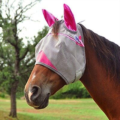 FLY MASK with PINK EARS for WARMBLOOD HORSE COVERS PROTECTS EARS Cashel Crusader