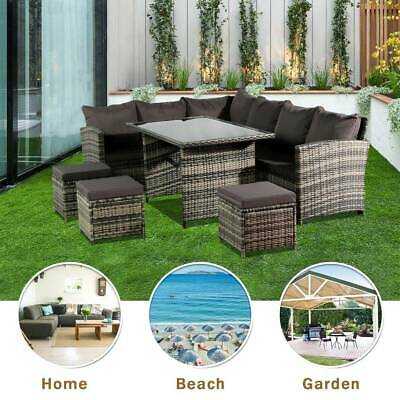 Garden Furniture - RATTAN GARDEN FURNITURE SOFA DINING TABLE SET CONSERVATORY OUTDOOR PATIO GREY