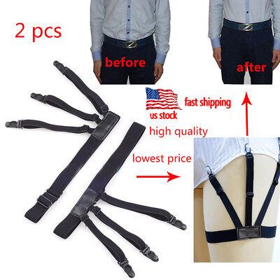 1 Pair Men's Shirt Stays Holders Elastic Garter Belt Suspender Locking Clamp USA