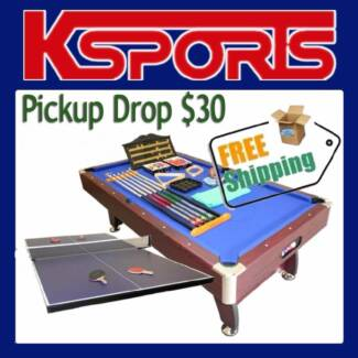 PUB SIZE POOL TABLE 8FT SNOOKER BILLIARD TABLE WITH TABLE TENNIS