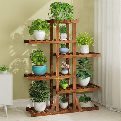 6T Tall Multiple Wood Plant Stand Indoor Outdoor Vertical Carbonized Flower Rack