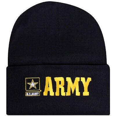 Army Logo Watch - Embroidered US Army Military Logo Star Beanie Stocking Watch Cap Hat Licensed