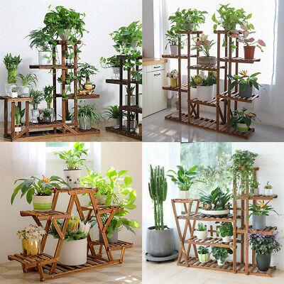 Wooden Outdoor Indoor Pot Plant Stand Display Garden Decor Flower Rack 7 Styles