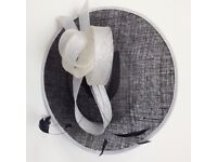 Ladies formal wedding hat by Debut-Navy two tone saucer with feather fascinator