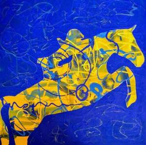"24""x24"" DRESSAGE Art Girl Jumper on Horse - Original Painting Acrylic Koudelka Oakville Canadian Artist Blue Yellow"