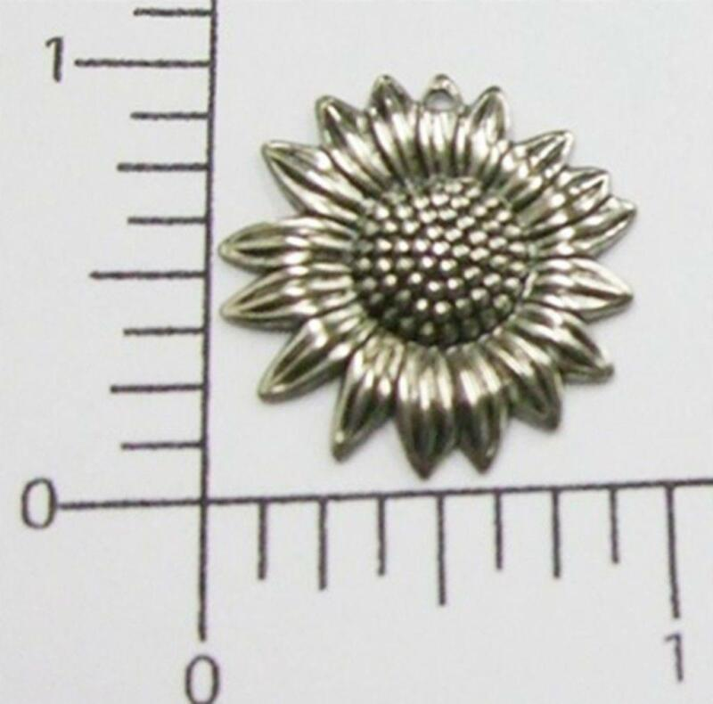 30254         3 Pc Matte Silver Oxidized Flower Jewelry Finding Charm