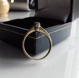 18k gold diamond solitaire vintage ring Size K 1/2