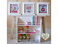 Spice Rack + 3 Matching Frames Shelf Unit Decoupage Free Standing Shabby Chic