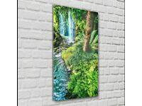 Print on Glass Wall Art 60cm x 120cm Madeira Tropical Garden waterfall