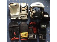 One X blue 3ft punch bag with gloves and helmet
