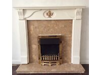 Electric fire, marble effect hearth and surround