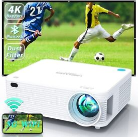 NEW WISELAZER Video Projector 5G WiFi Bluetooth Native 1080P Support 4K, Built-in Dust Filter