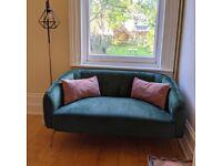 Velvet dark green two seater sofa good condition