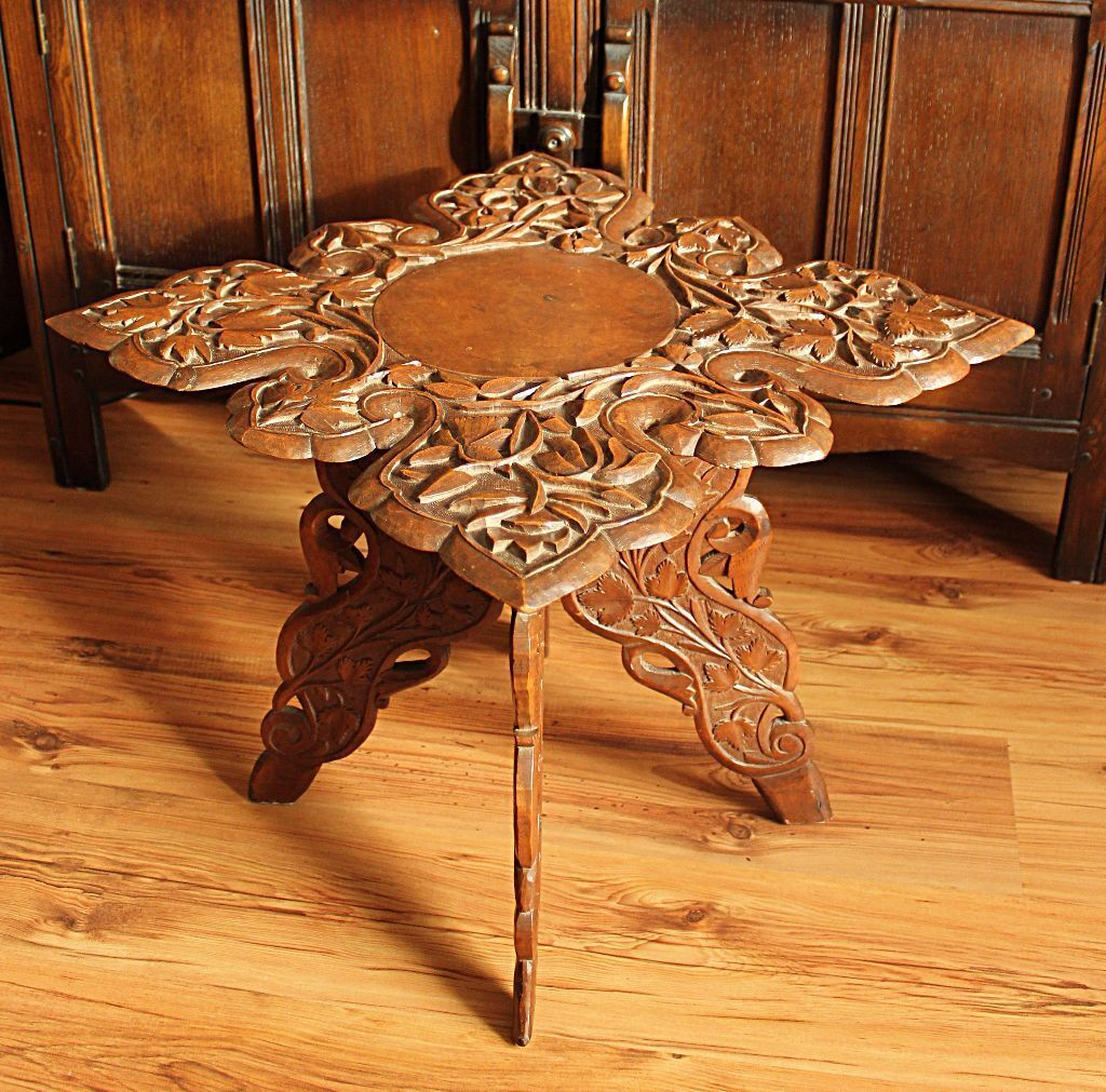 Antique Coffee Table With Folding Sides: £50 Ono! Vintage Oriental Wooden Hand Carved Folding Side