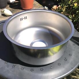 Round satin steel inset sink 60 cm