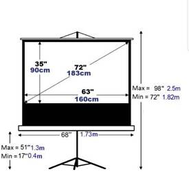 "72"" Mobile projector screen including projector stand"
