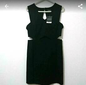 Topshop black cut out dress, size 14. New!