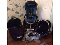 QUINNY BUZZ 4 WHEEL BLUE COMPLETE SYSTEM FOR BABY AND TODDLER VGC ALL CLEANED