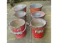 6 vintage fire buckets