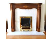 Fireplace Surround, with Gas fire, Brass Furniture and Marble Hearth