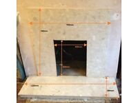 Marble Fireplace Surround with Matching Hearth and Wooden Mantelpiece
