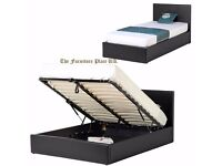 BRAND NEW OTTOMAN GAS LIFT BEDS WITH SINGLE DOUBLE KINGSIZE BED = BLACK/BROWN+MATTRESS
