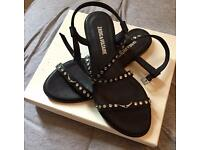 NEW Black Leather Zadig Sandals